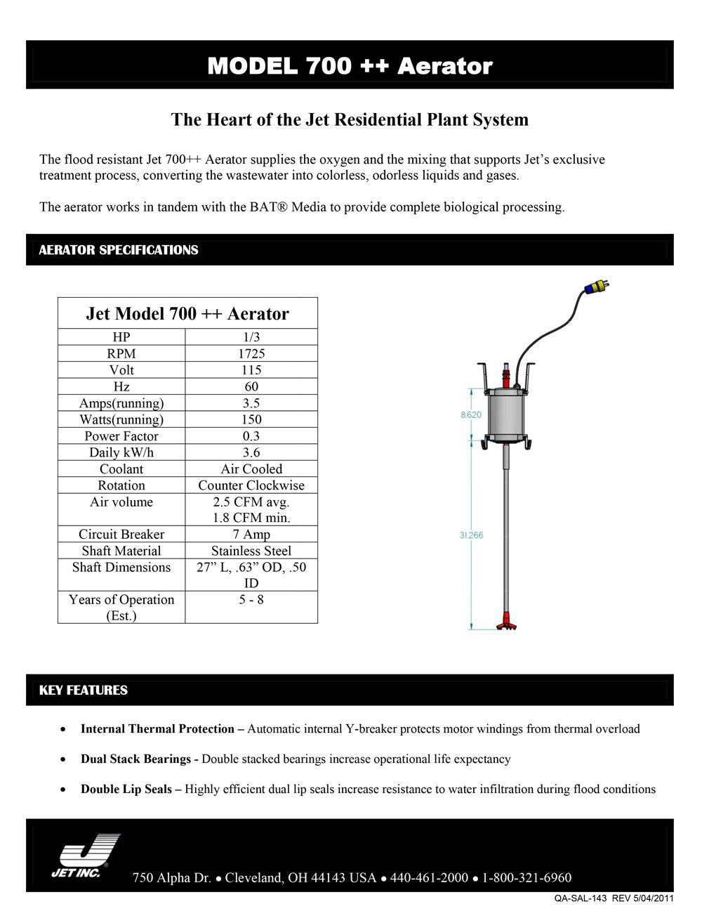 Model 700+ Aerator document image