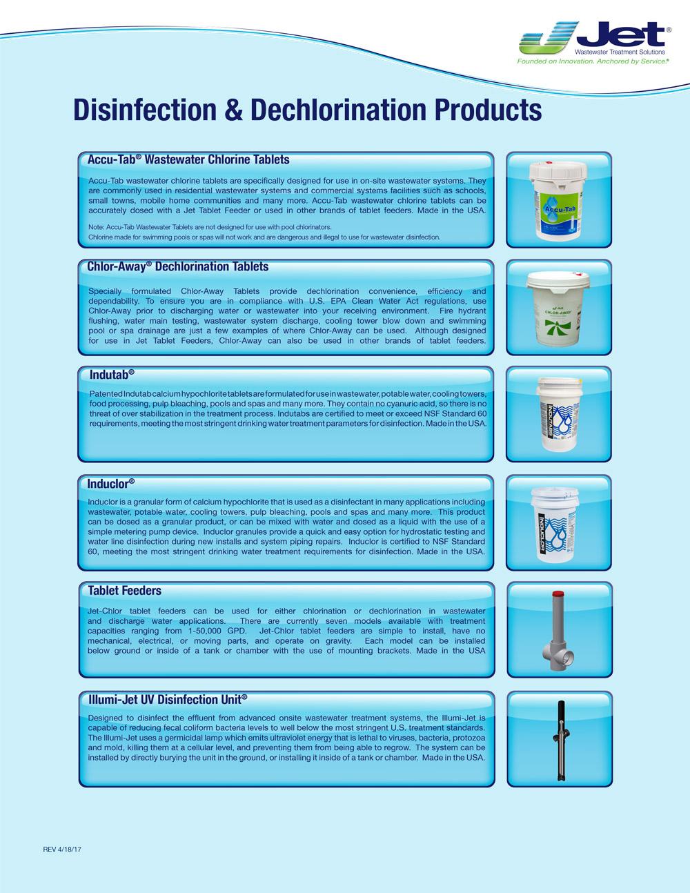 Jet Disinfection & Dechlorination Products document image