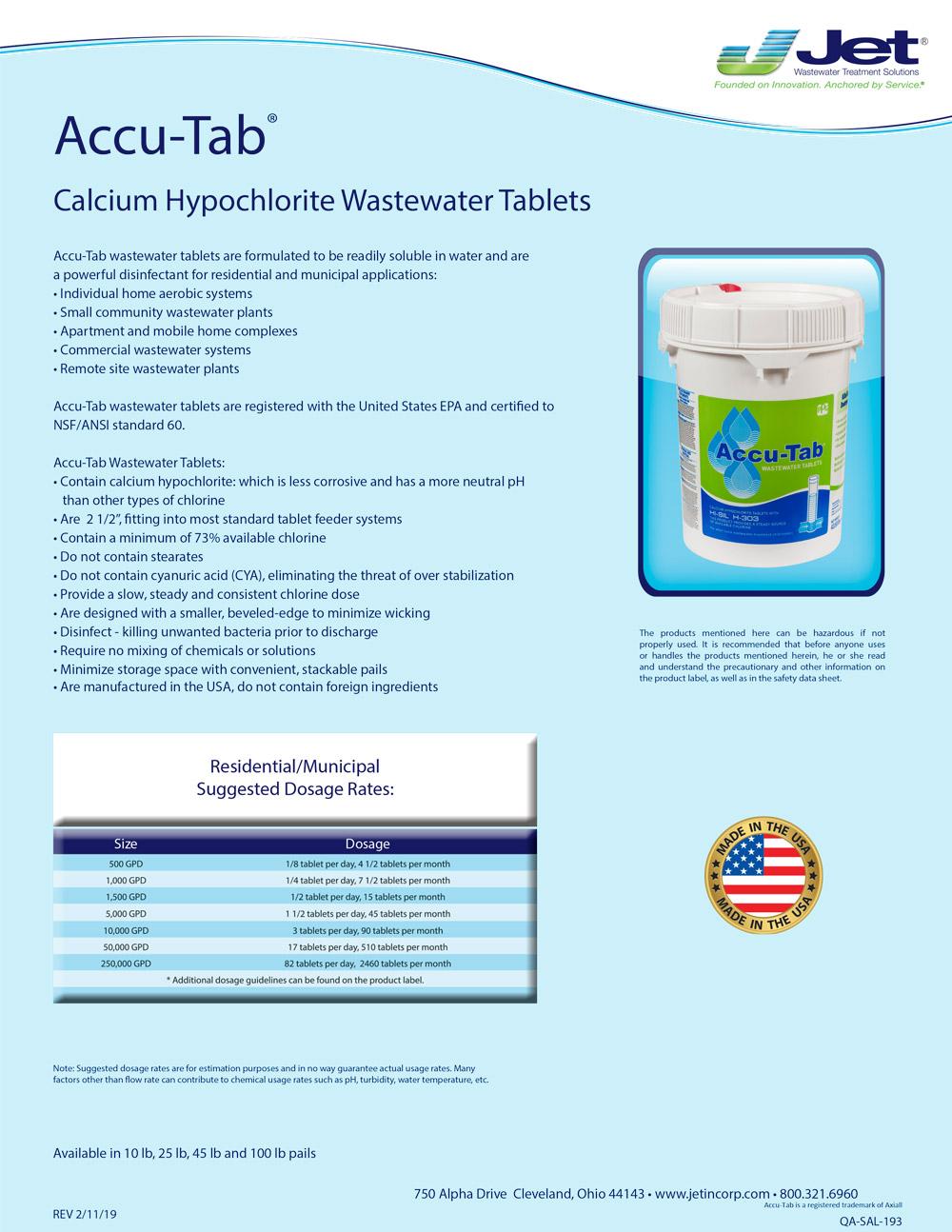 Accu-Tab Calcium Hypochlorite Wastewater Tablets